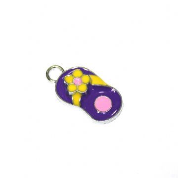 1pce x 20*12mm Rhodium plated purple flip flop with yellow daisy enamel charm - SD03 - CHE1070